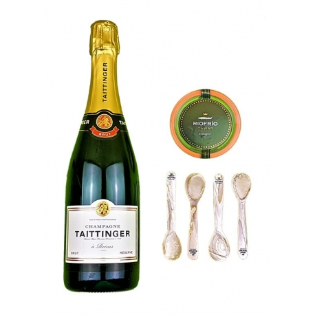 Pack Taittinger Brut Réserve, Caviar Ecológico Riofrío 200g y 4 cucharillas