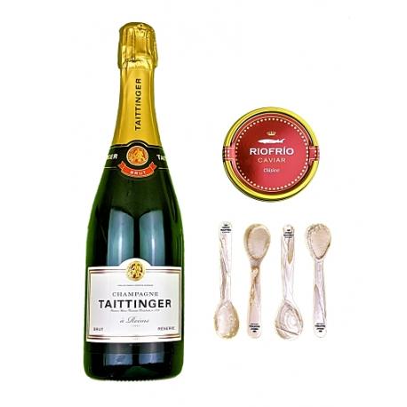 Pack Taittinger Brut Réserve, Caviar Iraní Riofrío 100g y 4 cucharillas